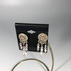 Drop Earrings Pink Stones Tiny facets Silver Spike